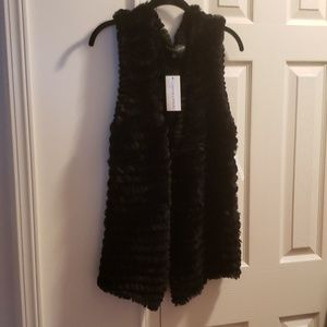 Adrienne Landau Black Rabbit Fur Vest